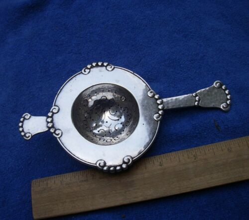 Fine DANISH Silver CUP TOP TEA STRAINER-Hammered Surface-Beaded Edge-Dated 1920
