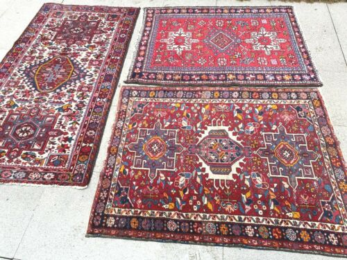 antico-swiss 3 Beautiful Antique IndoKARAJA rugs 3`3x6`and 3`6x4`6 and3`4x4`6 ft