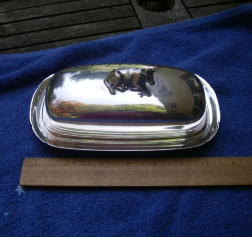 Reed & Barton Silverplate MAYFLOWER Pattern BUTTER DISH-COW Finial-Glass Liner