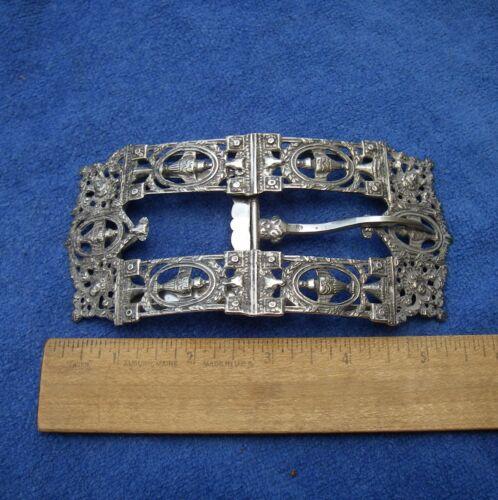 Very Large DUTCH 833 Silver BUCKLE-Neoclassical Motifs-Maker N2-Dated 1909