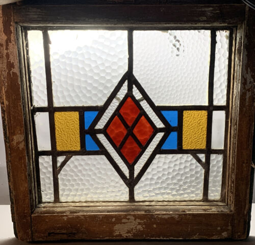 Antique VICTORIAN Leaded STAINED GLASS Old DIAMOND Pattern SALVAGED HOUSE WINDOW