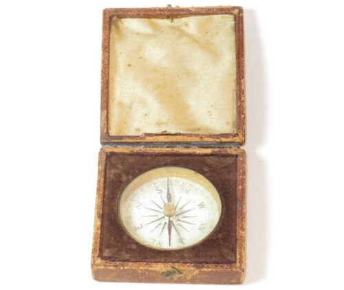 NICE LATE 18TH CENTURY NAVAL OFFICER'S POCKET COMPASS IN IT'S ORIGINAL CASE