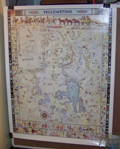 JO MORA Color 1991 YELLOWSTONE Map POSTER 28x22 vintage pictorial art print NICE