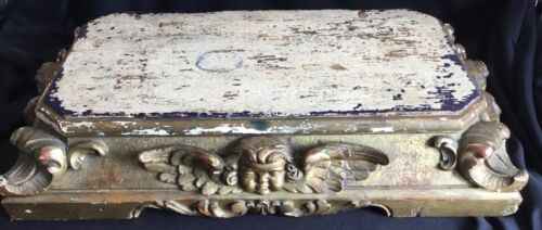 Antique Wood Carved Winged Cherub Table Top Architectural Furniture Fragment