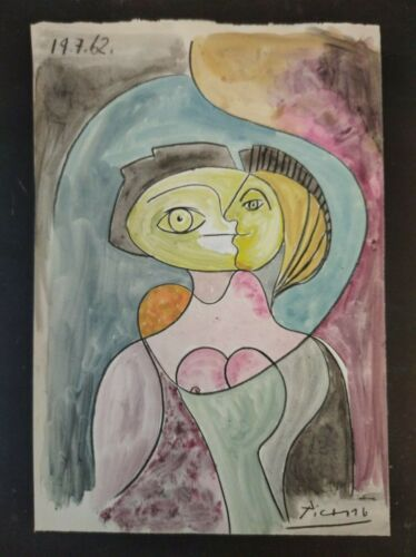 PABLO PICASSO      DRAWING BEAUTIFUL WATERCOLOR ON OLD PAPER of the 60s