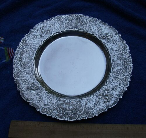 Good E.G. WEBSTER Silverplate DUTCH Style PLATE-9 Inches-Birds & Baskets