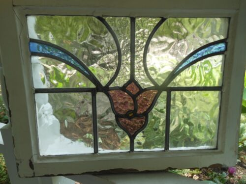 VV-002 Older English Leaded Stained Glass Window   LAST ONE!  19.5 X 14.5