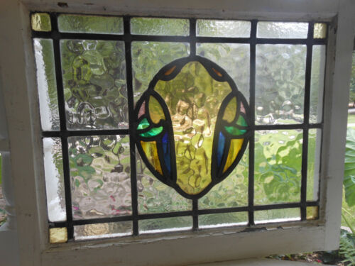 HN-72 Lovely English Leaded Stain Glass Window 25 1/4 X 19 1/2  LAST ONE!!