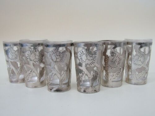 Mid-Century Rose Etched Sterling Silver Overlay Six Shot Cups Made in Mexico