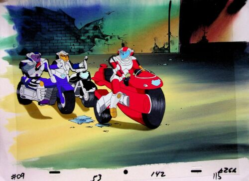 BIKER MICE FROM MARS Production VINNIE Cel and Hand Painted Background 1993