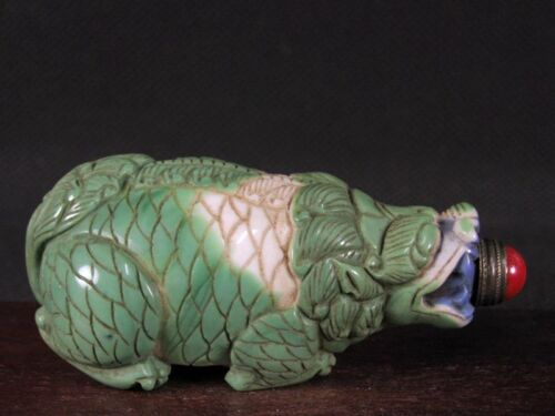 Chinese Dragon Turtle Carved Peking Overlay Glass Snuff Bottle