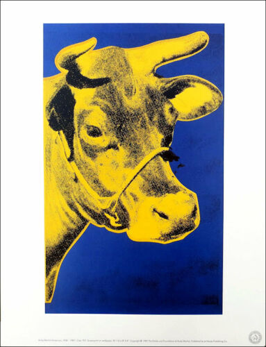 ANDY WARHOL Cow Yellow On Blue Official Authorized Litho Print 1989