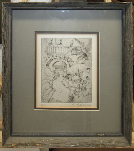 """Knute Heldner 1930s New Orleans Etching """"Patio Royal"""" Cafe Listed Louisiana"""