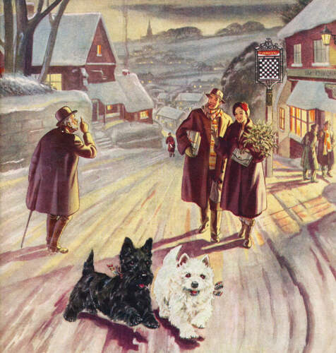 vintage art Christmas Shopping Scottie dogs in snow