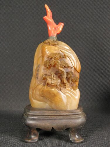 Excellent Chinese Elder Horse Scenery Carved Natural Shoushan Stone Snuff Bottle