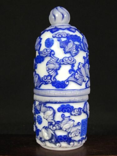 Excellent Chinese Twenty One Bat Carved Peking Overlay Glass Snuff Bottle