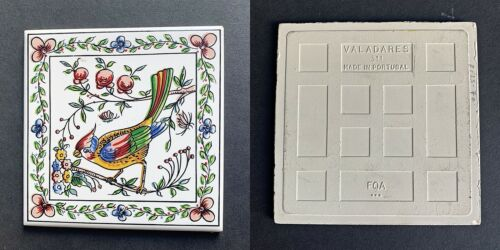 Trivet Wall Hanging Colorful Blue Jay on Branch Made in Portugal Valadares