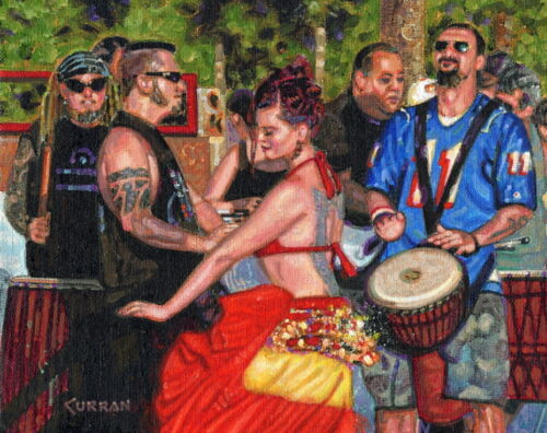 ORIGINAL OIL PAINTING, PARTY PEOPLE, VENICE BEACH, CALIFORNIA, Listed Artist NR!