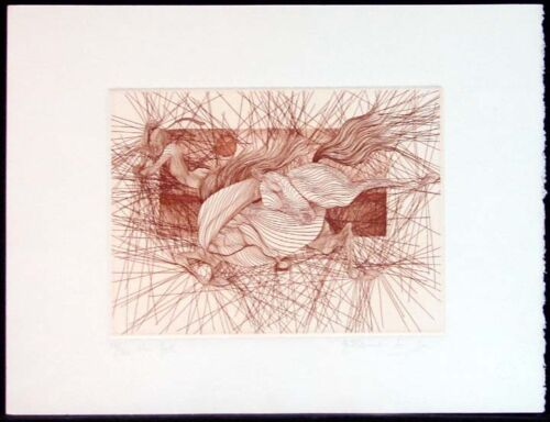 """Guillaume Azoulay """"The Fall"""" Original Hand Signed & Numbered Art Etching, Horse"""