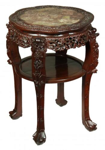 SWC-Large Chinese Table w/ Marble Top, turn of the Cen.