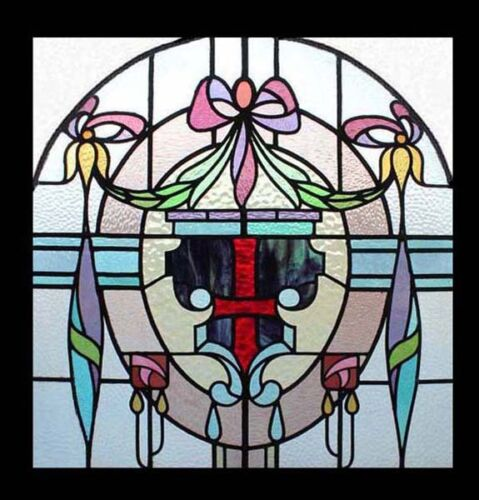 Rare And Stunning Mackintosh Rose English Antique Stained Glass Window
