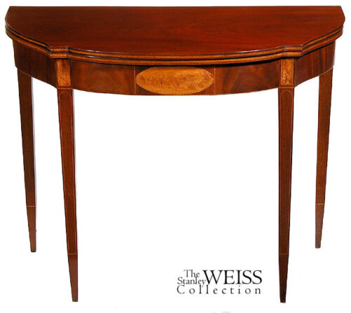 SWC-Fine Inlaid Federal Hepplewhite Card Table, c.1790