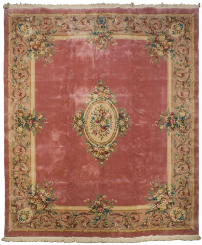 RRA 12x14 Pink / Rose Aubusson Rug Carpet Floral 29728