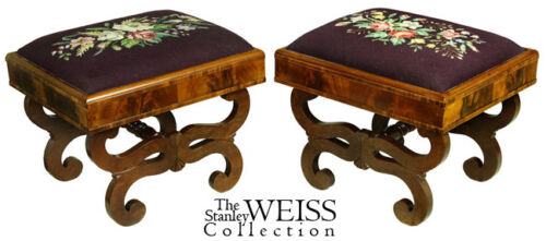 SWC-Pair of Classical Footstools, MA, c.1830