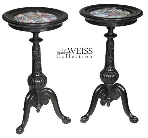SWC-Two Ebonized Stands w/ Rose Medallion Insets, 1890