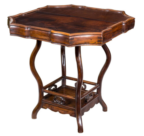 SWC-A Serpentine Rosewood Gaming Table, China, 19th cen