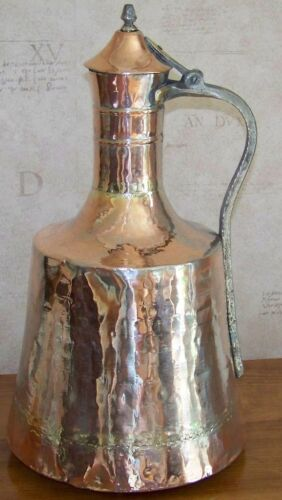 """CLEARANCE Turkish 18"""" (45cm) High Handmade Antique Shinny Finish Copper Pitcher"""