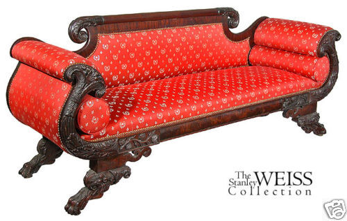 SWC-Exhuberant Carved Mahogany Classical Sofa, c.1830