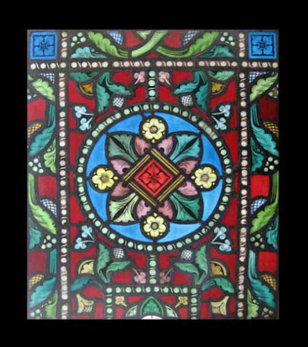 Fabulous Painted Victorian Antique English Stained Glass Window