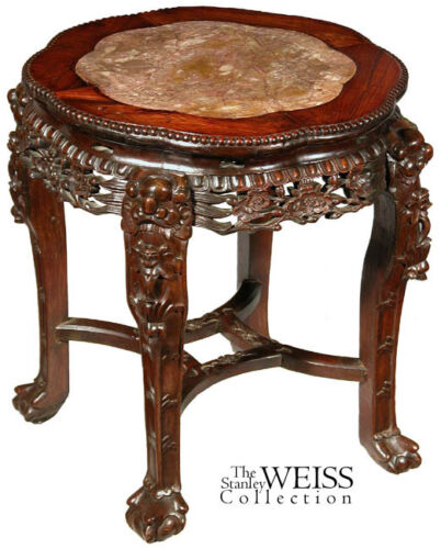 SWC-Large Export Chinese Side Table with Inset Marble