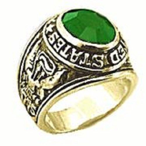 18K EP GOLD  US ARMY MILITARY INLAY RING sz 9  or R 1/2  EMERALD