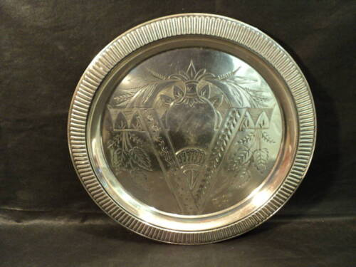 "19th C. WEBSTER Silver Plate Engraved 11.5"" Platter / Tray"