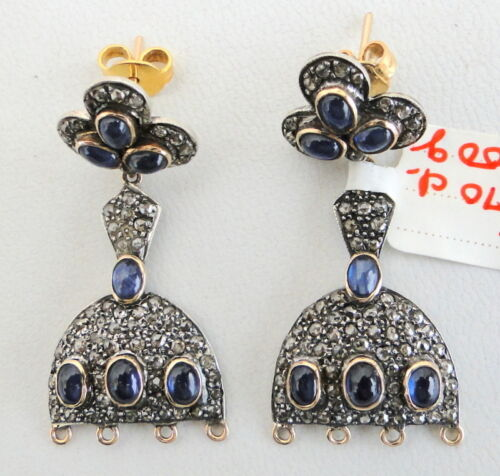 VICTORIAN DIAMOND BLUE SAPPHIRE GOLD SILVER EARRING IND