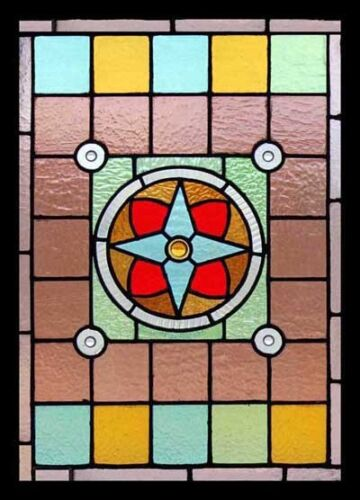 Spectacular English Rondels Antique Victorian Stained Glass Window