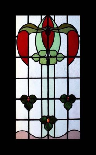 Fabulous Floral Art Nouveau Antique English Stained Glass Window