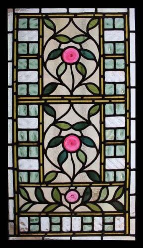 Rare Art Nouveau Pink Rondels Antique English Stained Glass Window