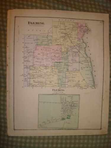 FLEMING CAYUGA COUNTY NEW YORK ANTIQUE HANDCOLORED MAP