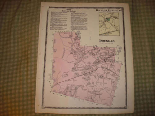 EAST & DOUGLAS MASSACHUSETTS ANTIQUE HANDCOLORED MAP NR