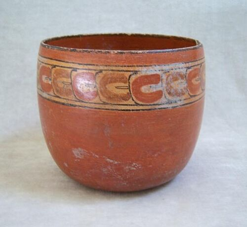 Pre-Columbian MAYAN POLYCHROME POTTERY BOWL - 600 AD