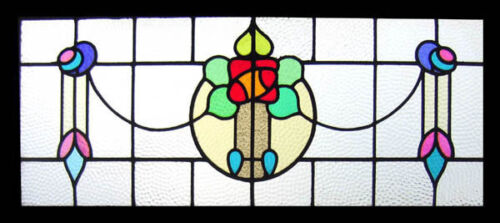 Stunning Mackintosh Rose Antique English Stained Glass Window