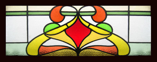 Beautiful Art Nouveau Antique English Stained Glass Window