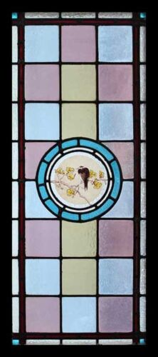 Beautiful Painted Bird Victorian English Antique Stained Glass Window