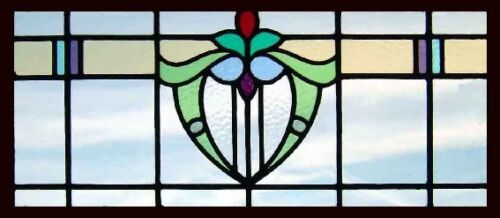 Pretty Art Deco English Stained Glass Window