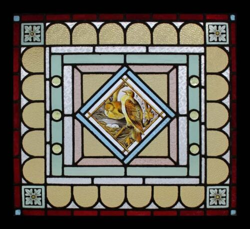 Rare Painted Birds On The Nest Antique English Stained Glass Window