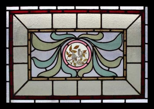 Rare Art Nouveau Painted Birds Antique English Stained Glass Window