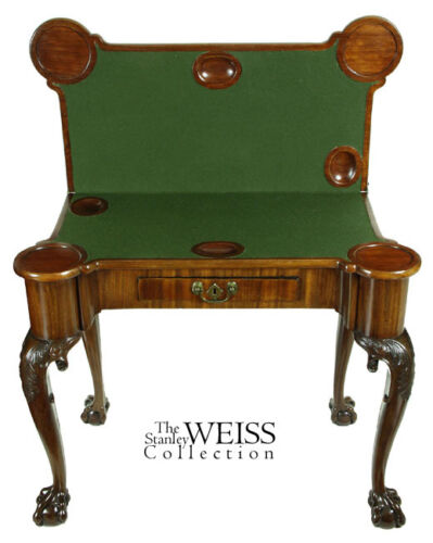 SWC-Carved Mahogany Claw & Ball Games Table, c.1760